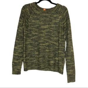 Joe Fresh tonal green chunky knit sweater